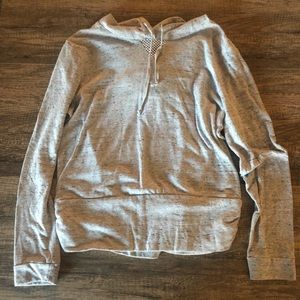 Wish and Whim Grey Hoodie with Mesh on the Back